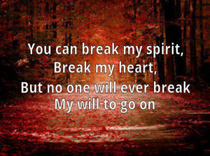 You Can Break My Spirit