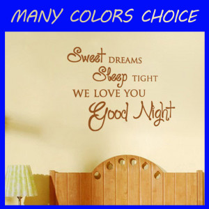 Lettering Graphic Sweet Dreams Sleep Tight vinyl wall quote for home ...