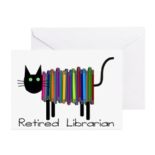 Retired Librarian Book Cat.PNG Greeting Cards (Pk for