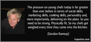The pressure on young chefs today is far greater than ever before in ...