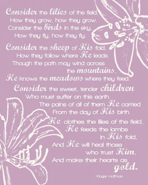 Lilies Of The Field Bible verse for bulletin board
