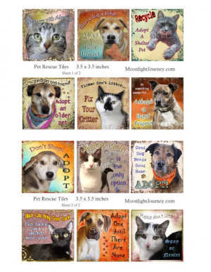 Animal Rescue Sayings Pet rescue collage sheet