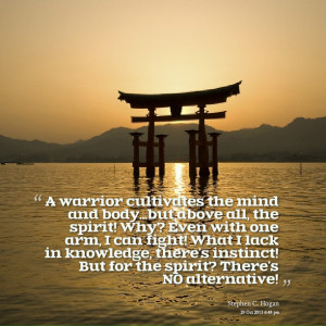 Quotes Picture: a warrior cultivates the mind and bodybut above all ...