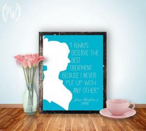 Jane Austen Quote Printable print, wall art decor poster, digital ...