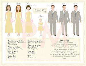 Custom Wedding Program Wedding Party Illustrations by PaperMaids, via ...