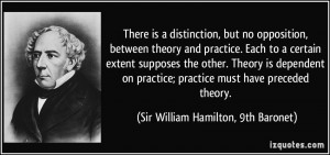 There is a distinction but no opposition between theory and practice