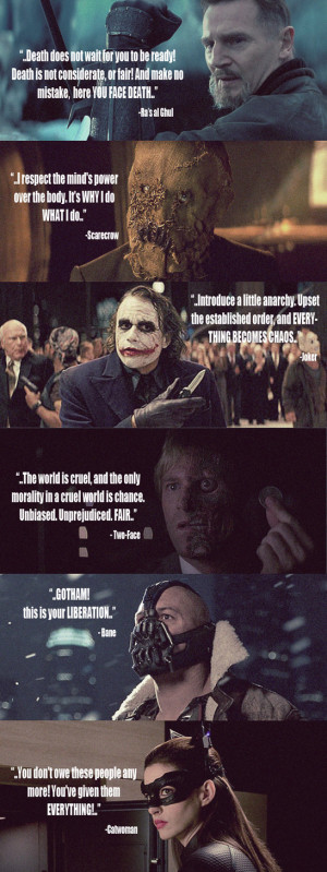 Nolan's Batman Trilogy villains' quotes by huatist