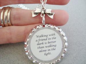 friendship quote necklace, friend pendant, resin quote pendant, best ...