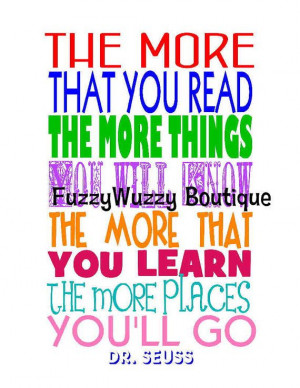 Dr. Seuss Reading Quote Printable Children's Art