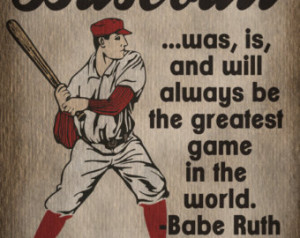 Baseball Art Print Kids Baseball Room Decor Babe Ruth Quote