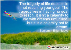 Quote - The tragedy of life doesn't lie in not reaching your goal ...