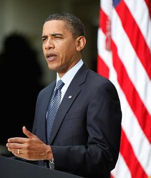 President Obama speaks in the Rose Garden at the White House.