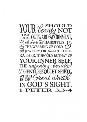 Peter 3:3-4 -Great worth in God's sight Teen Girl Scripture wall ...