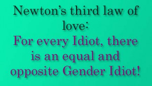 newton s third law of love for every idiot there is an equal and ...