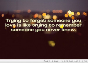 to forget someone you love is like trying to remember someone you ...
