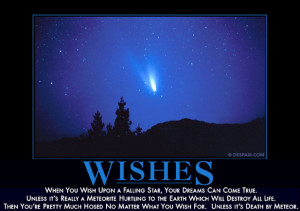 When you wish upon a falling star, your dreams can come true. Unless ...