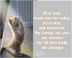 Dear God, thank you for today, yestarday and tomorrow. My family, my ...