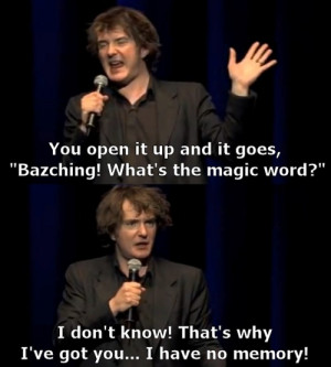 Dylan Moran, on his laptop and technology