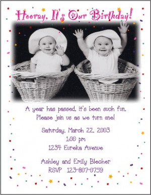 Girl/Girl Birthday Photo Card Invitations for Twins