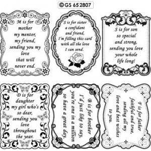 Sentiments, verses #07 - family, peel off scrapbook stickers - silver