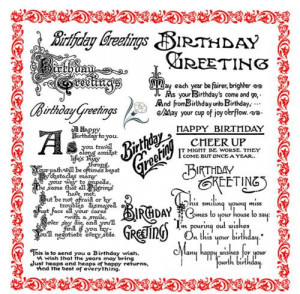 Birthday Greetings Cheer Up Sayings Poems FLONZ 849 Clear Stamp ...