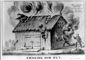 Political cartoon satirizing Van Buren's Barnburners / Free Soil Party