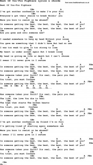 Love Song Lyrics for: Best Of You-Foo Fighters with chords for Ukulele ...