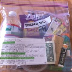 Blessing Bag:) water, fruit cup, fork, gronola bar, trail mix ...