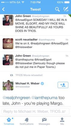 John Green is playing Margo in Paper Towns. Hahahaha More