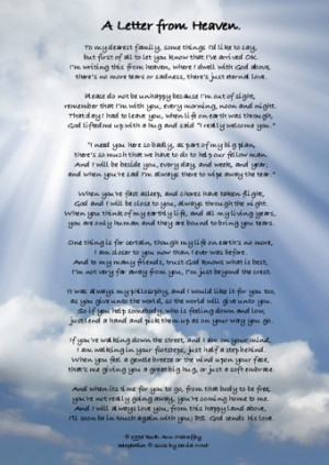 letter from heaven sayings