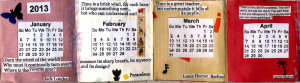 2013 Desk Calendar with quotes about time ..handmade and unique