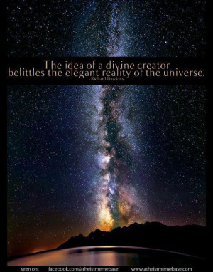 ... divine creator belittles the elegant reality of the universe - Dawkins