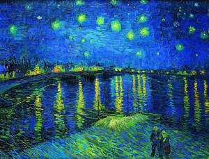 星夜-荷兰-梵高-油画-40x52 会所装饰画-横幅
