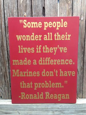 Gift for Veteran US Marine Corps USMC Ronald Reagan Quote Wood Sign ...