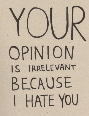 Your opinion is irrelevant because I hate you.
