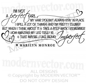 MONROE Quote Vinyl Wall Decal IM NOT A PERFECT GIRL Vinyl Stickers