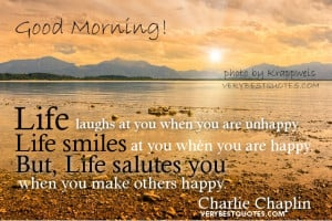 Inspirational quotes about life - Life laughs at you when you are ...