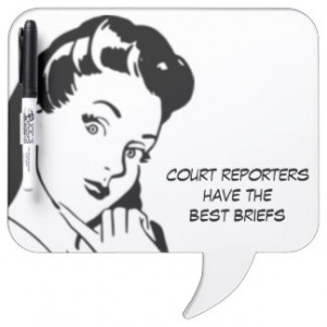 Retro Cartoon Woman Court Reporting Funny Quote Dry-Erase Boards