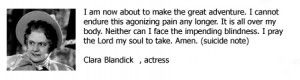 Actress Clara Blandick's Suicide Note - Famous suicide quotes