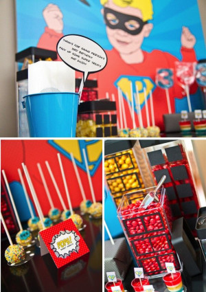 Super hero party - some simple ideas. Put black on glass vases for ...