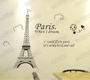 Fashion Paris Eiffel Tower Removable Vinyl Art quotes Wall Sticker DIY ...