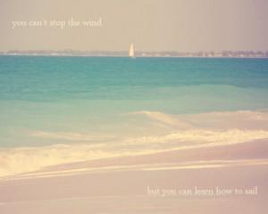 Beach Quote Inspirational Sail Art Print - Blue Pink Beach House Decor ...