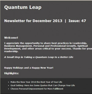 Our Quantum Leap Connections eNewsLetter was published yesterday ...