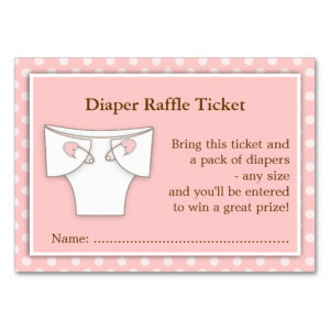 Girly Pink Baby Shower Diaper Raffle Ticket Insert Business Card ...