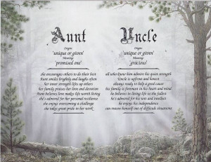 Aunt Uncle Poem Forest Print Personalized Name Meaning