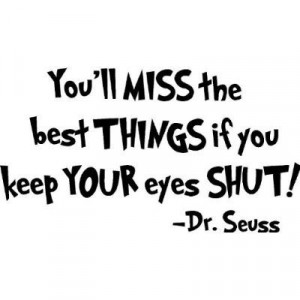 Dr Seuss You'll miss the best things if you keep your eyes shut wall ...