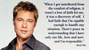 Brad pitt, quotes, sayings, religion, celebrity