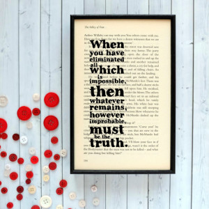 Sherlock Holmes Impossible Quote on Vintage Book Page Framed Altered ...