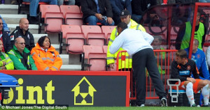 Outburst: Ince apologises to a female steward after accidentally ...