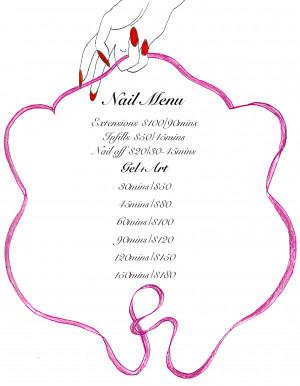 acrylic gel nail art nail menu and prices